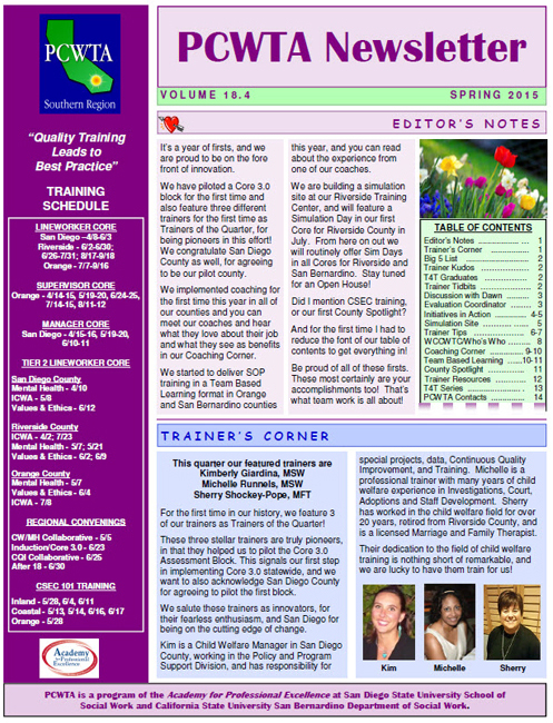 PCWTA Newsletter May 2015