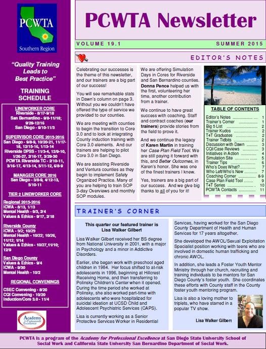August 2015 newsletter
