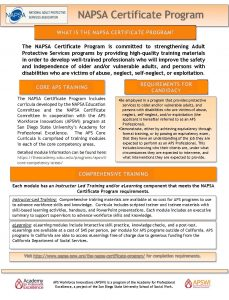 NAPSA Certificate Program Flyer