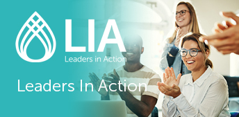 Leaders in Action (LIA) Logo with professionals meeting
