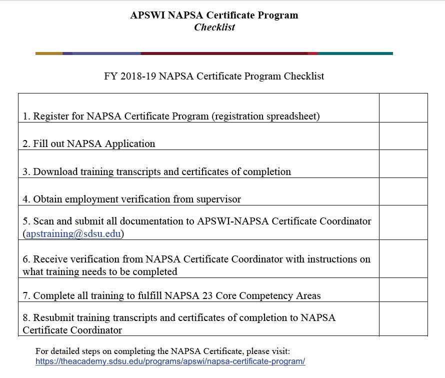 APSWI NAPSA Certificate Checklist