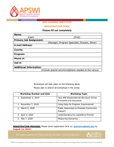 Adult Services Managers Course Registration Form
