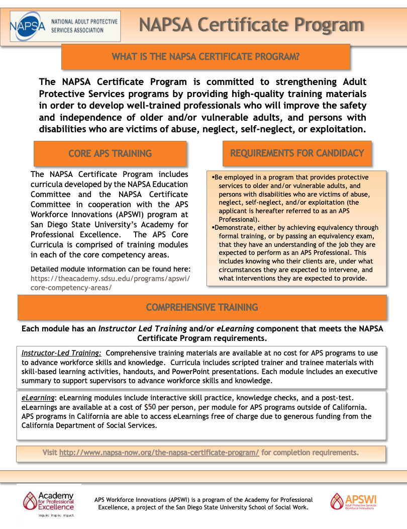 NAPSA Certificate Program Flyer February 2020