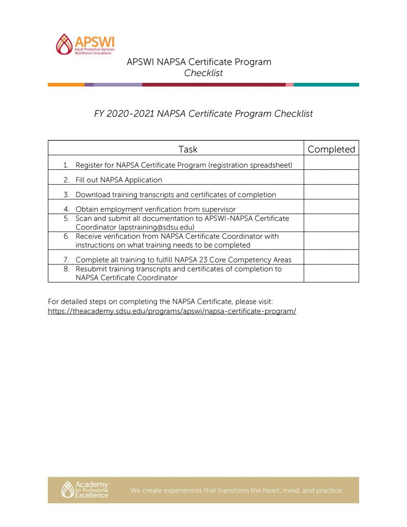 NAPSA Certificate Checklist
