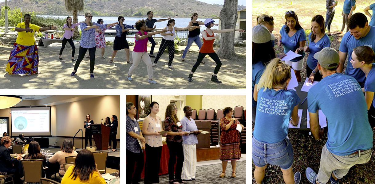 Academy staff participating in various activities including yoga, scavenger hunt, and presenting at a conference