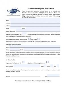 NAPSA Program Certificate